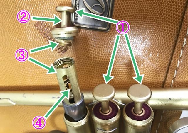 ピストンボタン、軸、他樹脂パーツを金属に交換